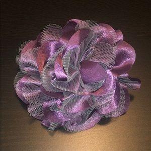 Purple Satin and Grey Toole Hair Accessory/Broach